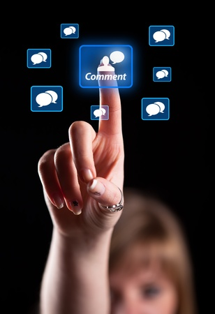 Woman hand pressing social network icon Stock Photo - 9342300