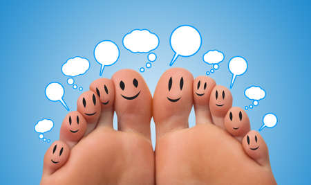Happy group of finger smileys with speech bubbles  photo