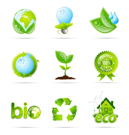 Green eco shiny icon collection Vector