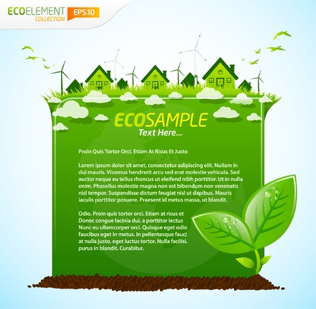 earth friendly: Plantilla de eco verde Vectores