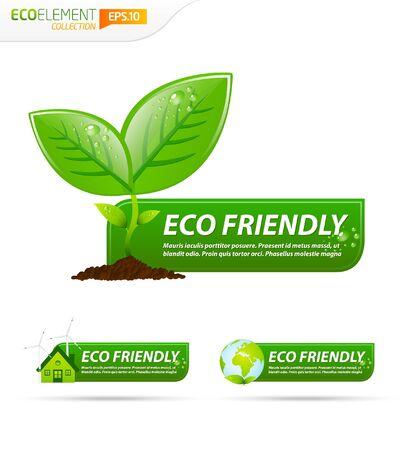 icono ecologico: Colecci�n de bandera verde eco amigable plantilla