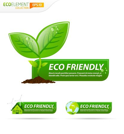 Green eco friendly template banner collection Stock Vector - 9451438