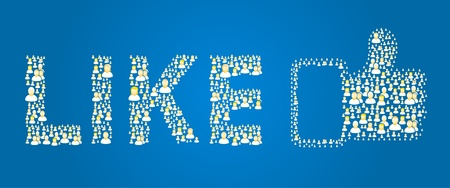 internet love: Blue like button made out of social people icons