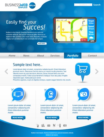 Modern blue business website template with gps  Vector