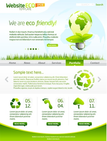 Green eco website layout template  Stock Vector - 9451449