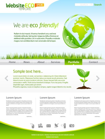 page layout design: Green eco earth web template layout