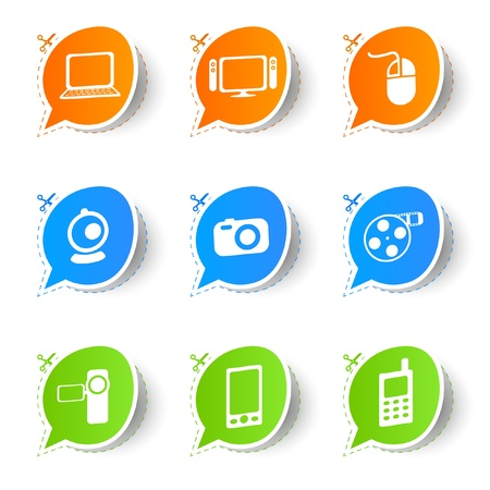 Colorful bubble icon sticker collection  Vector