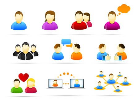chat icon: Colorful social media people icon set  Illustration