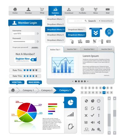 Modern blue website template collection
