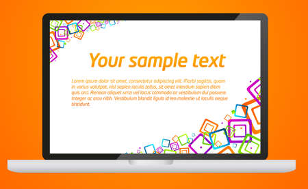 Modern laptop template with colorful abstract forms  photo