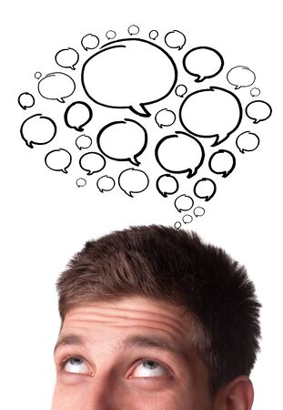 thought: Young man with Speech Bubbles over his head, isolated on white background