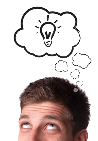Young man with Speech Bubbles over his head, isolated on white background Stock Photo - 9451489