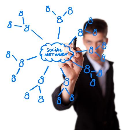 network marketing: Empresario dibujo plan de red social en pizarra