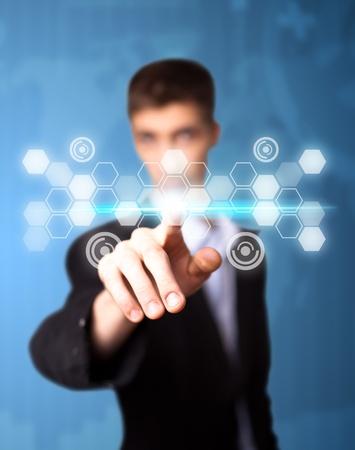 pressing: Man pressing digital button, futuristic technology