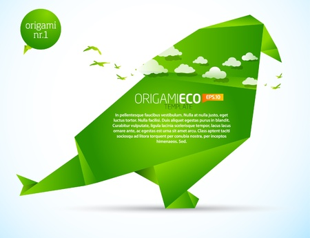 origami bird: Eco friendly green origami template bird  Illustration
