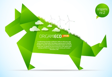 Eco friendly green origami template dog Vector
