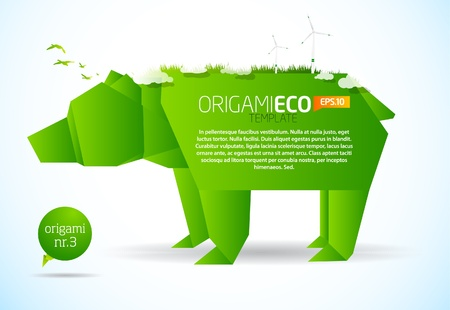 origami: Eco friendly green origami template bear