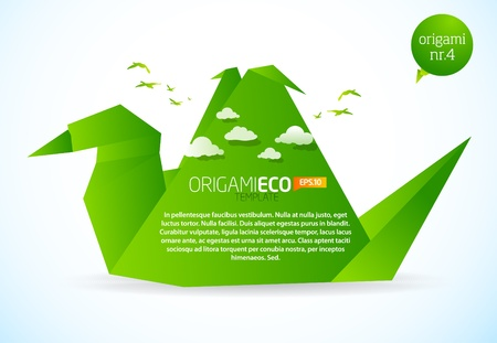 Eco friendly green origami template bird  Stock Vector - 9498621