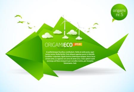 eco friendly: Eco friendly green origami template fish