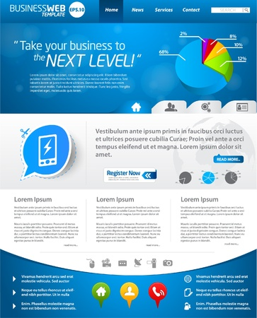 Blue business web template layout  Vector