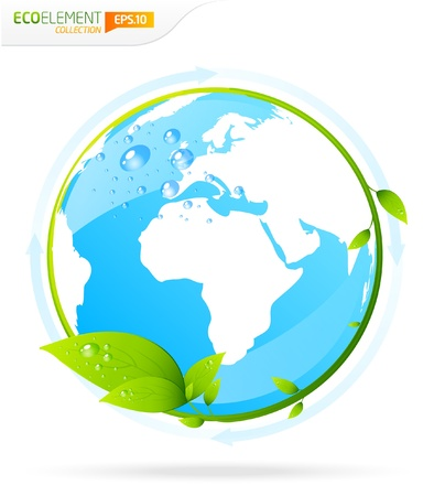 Blue earth globe with green leaf template  Stock Vector - 9498662
