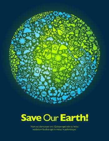 our: Save our Earth blue and green poster template