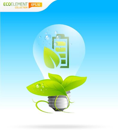 water supply: Energy saver green eco icon lightbulb template