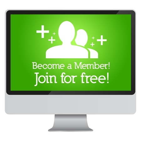 Become a member, join for free advertisement in monitor  Vector