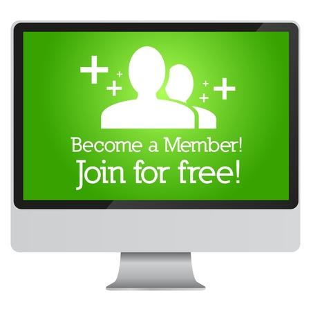 Word lid en word lid van gratis advertenties op de monitor