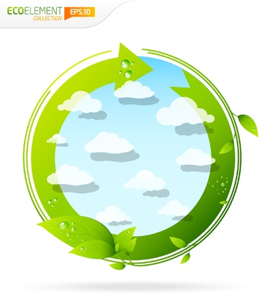 water pollution: Green design element template recycle with clouds and leafs  Illustration