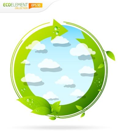 earth friendly: Plantilla de elemento de dise�o verde reciclar con nubes y hojas
