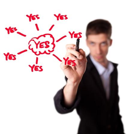 Young businessman decide for positive decision, selective focus Stock Photo - 9498629