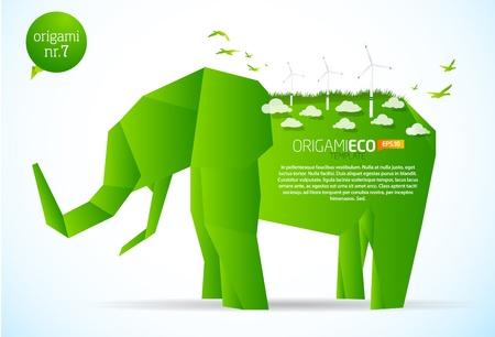 planet futuristic: Green origami eco elephant nr. 7  Illustration