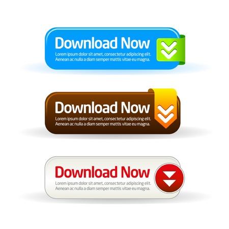 Eenvoudige moderne download nu knopcollectie