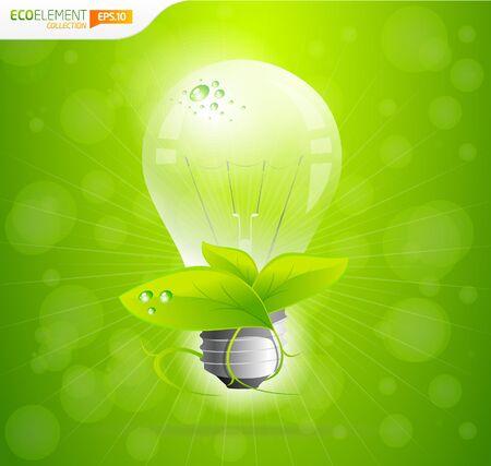 Green eco ampoule avec effet bokeh Vecteurs