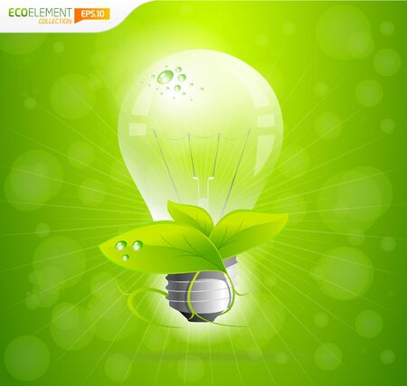 Green eco lightbulb with bokeh effect  Vector