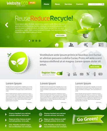 Green eco website layout template Stock Vector - 9498694