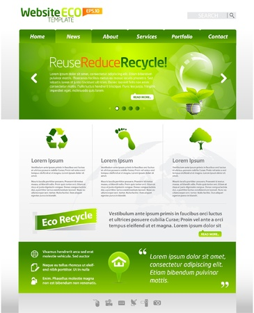 web site design template: Green eco website layout template