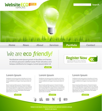 Green eco website layout template Vector