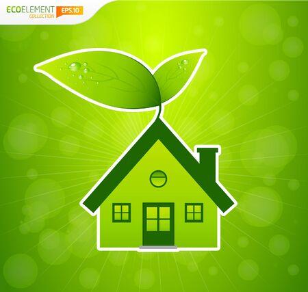 Groen huis met bladeren en bokeh Vector Illustratie
