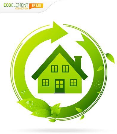 Leafs de la maison verte avec  Banque d'images - 9498677