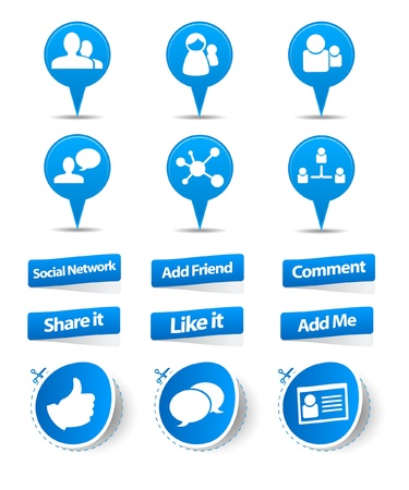 Social network sticker and label collection  Vector