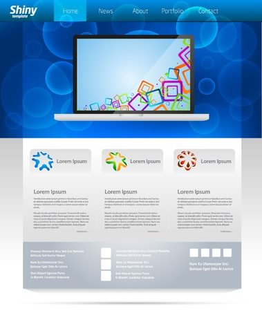 Blue business web template layout with laptop slider Stock Vector - 9498692
