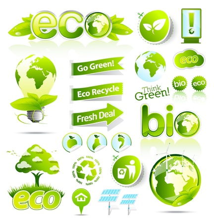 Huge collection of green eco and bio elements Stock Vector - 9611654