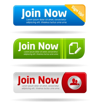 Join now modern minimal button collection Stock Vector - 9611633