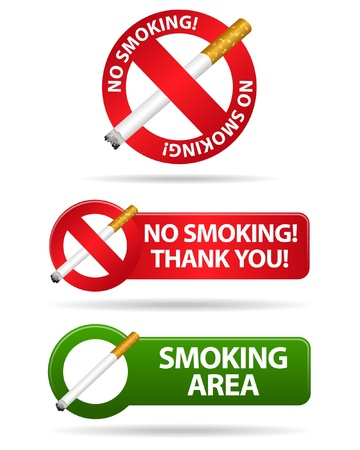 abstain: No smoking and smoking area signs  Illustration