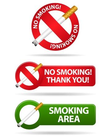 no sign: No smoking and smoking area signs  Illustration