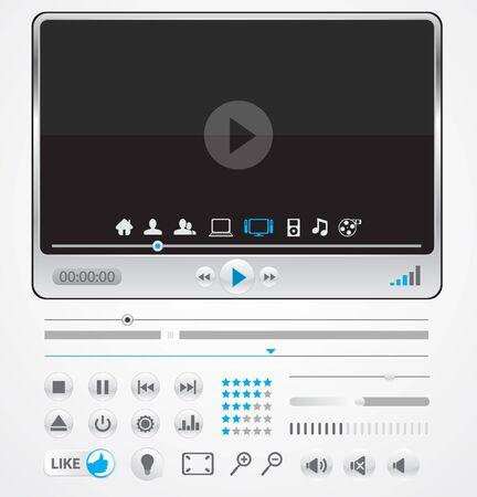 glowing skin: Reproductor multimedia m�nima con iconos  Vectores