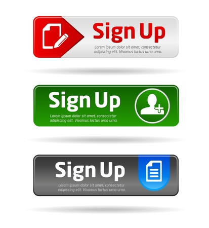 navigation pictogram: Sign up button collection