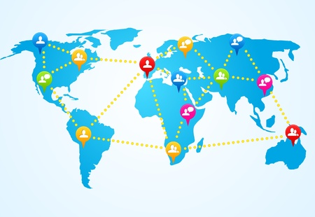 world group: Colorful social media people communication on the world map